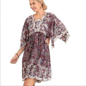 Umgee Paisley 3/4 sleeve top dress